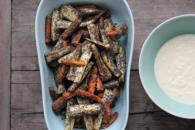 Bagte rodfrugter med birkes og peberrodscreme