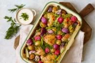 Bagte sommergrønsager med kylling og skyr